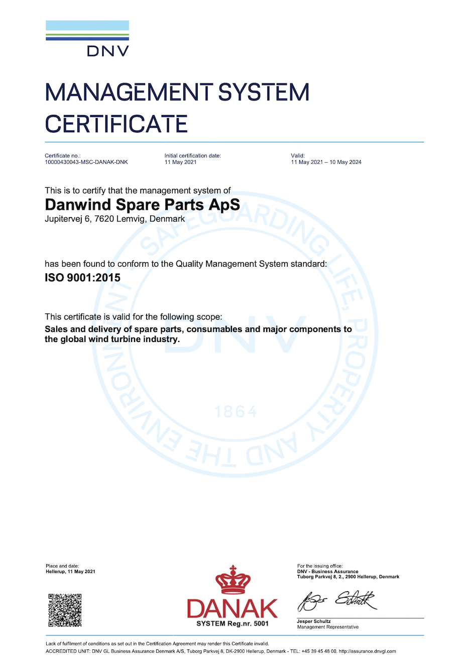 ISO Quality Management certificate